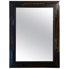 Flemish Style Faux Walnut and Ebonized Ripple Frame Mirror