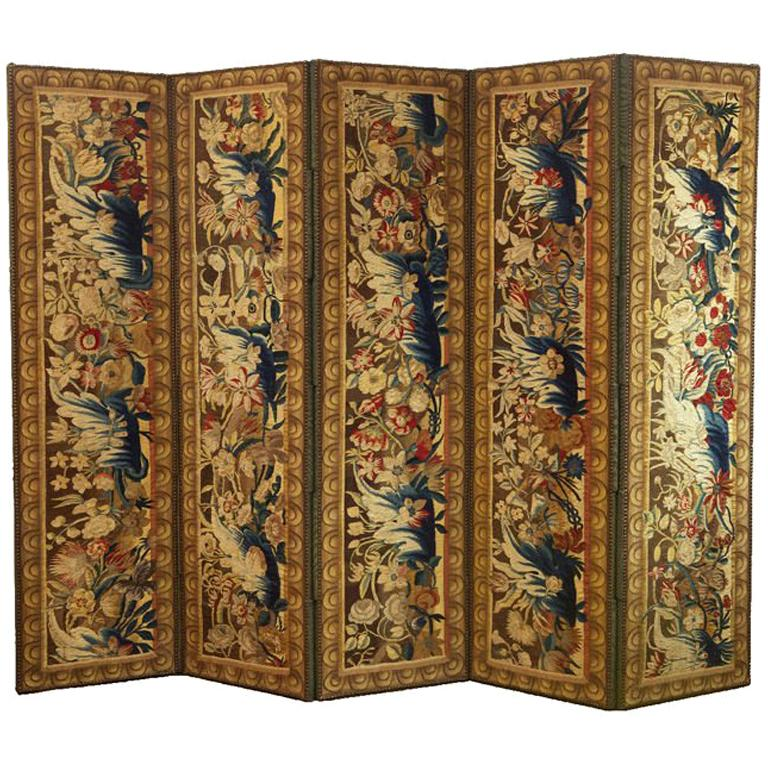 A Flemish Tapestry Five-Panel Screen For Sale