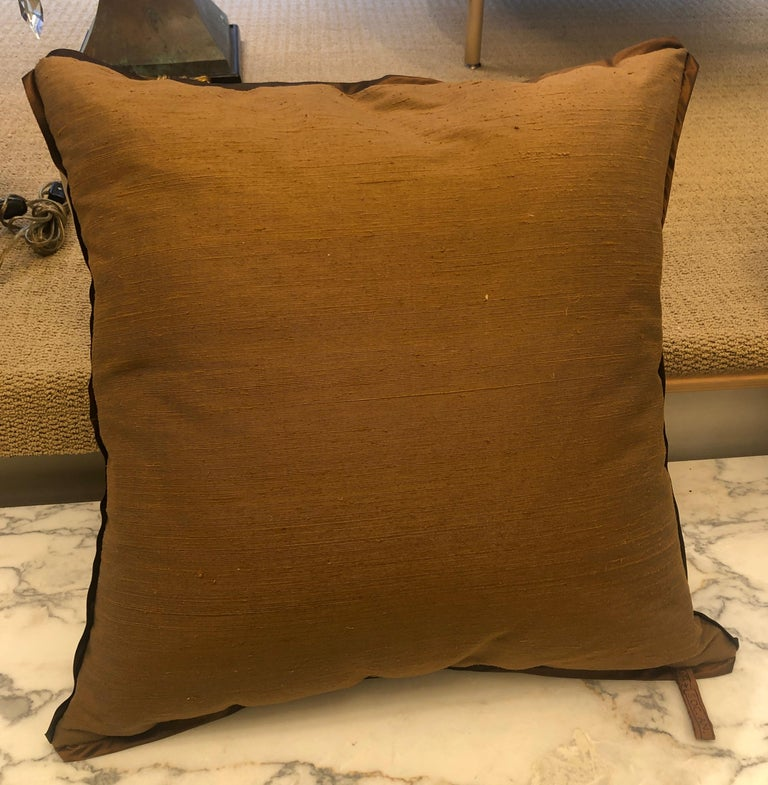 Silk Fortuny Fabric Cushion in the Impero Pattern For Sale