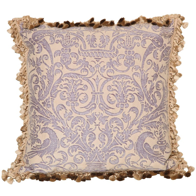 Fortuny Fabric Cushion in the Uccelli Pattern