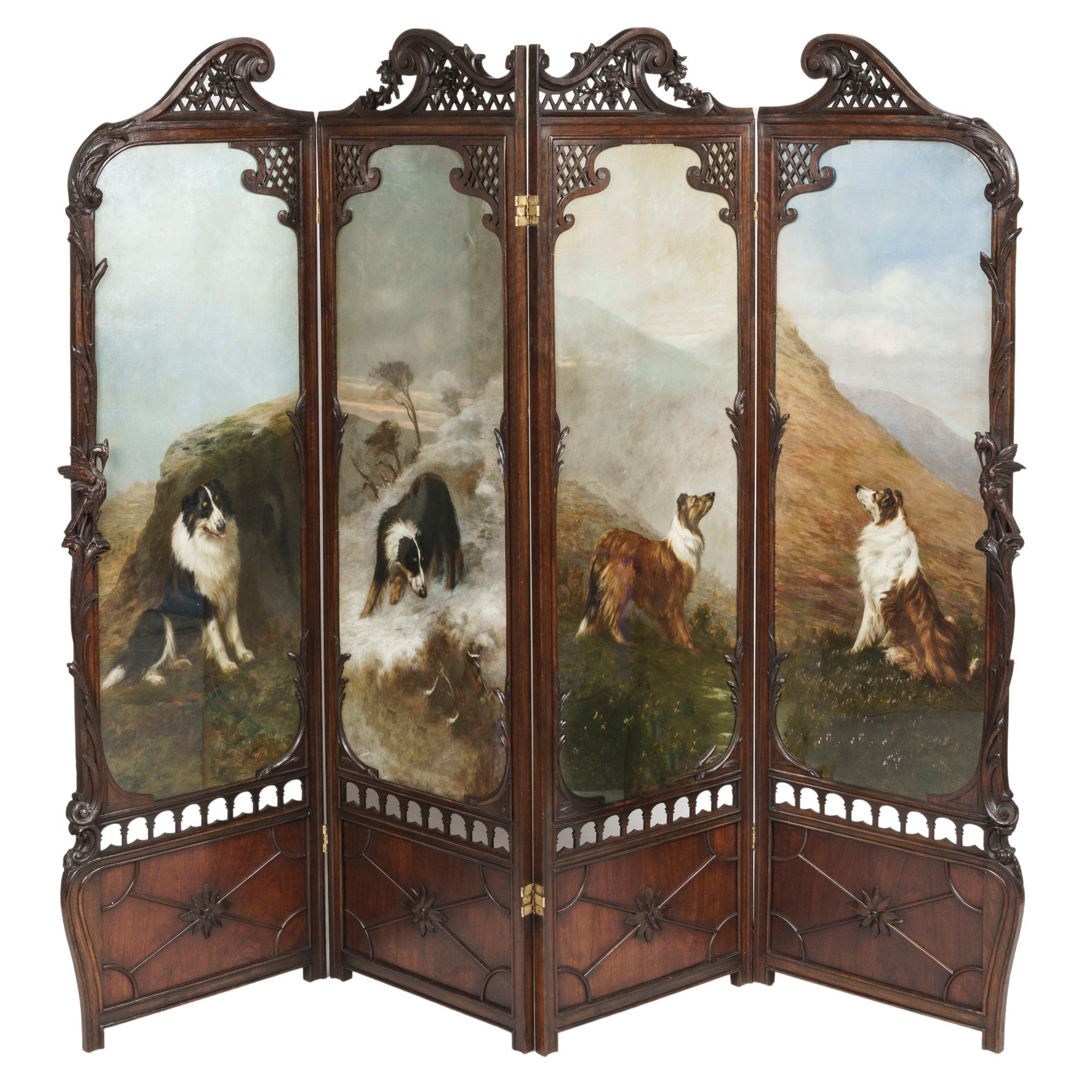 Four Fold Screen with Paintings of Dogs