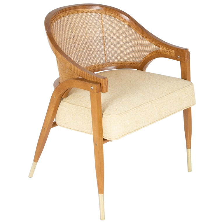 """""""A Frame"""" Caned Back Armchair Designed by Edward Wormley for Dunbar For Sale"""