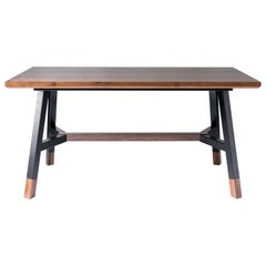A-Frame, Modern Walnut and Black Powder Coated Steel Dining Table