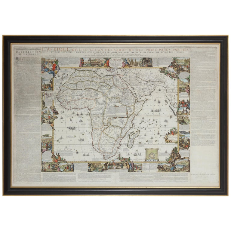 Framed Hand Colored Map of Africa by Nicolas de Fer For Sale