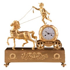 France Empire Clock with Cupid / Amor and Chariot Pulled by a Horse