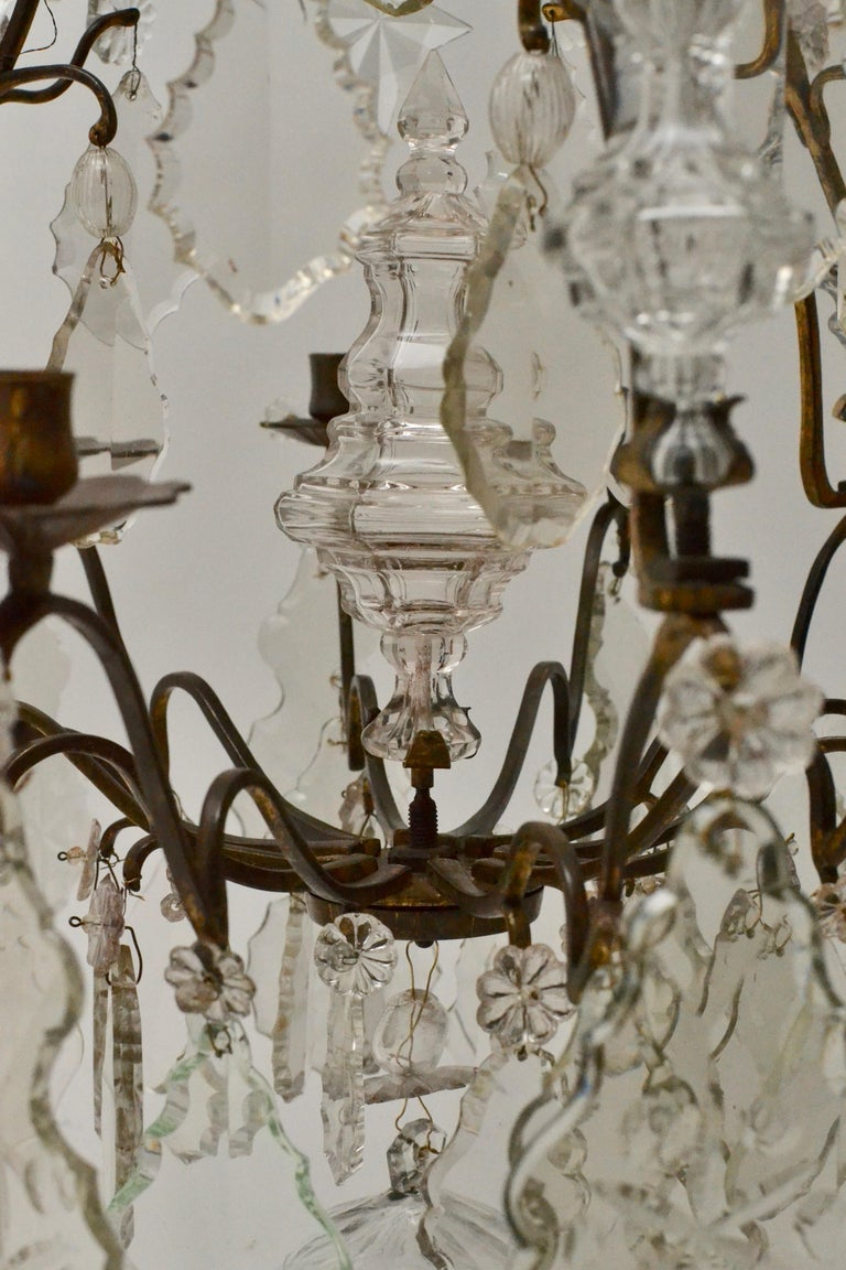 Gilt French 18th Century Louis XV Chandelier, Mid 18th Century For Sale