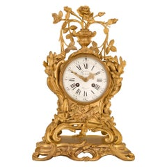 French 18th Century Louis XV Period Ormolu Clock, Signed Gaudrons du Roy