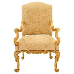 Italian 18th Century Baroque Style Giltwood Armchair