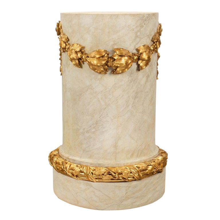French 18th Century Louis XVI Period Faux Painted Marble & Giltwood Pedestal For Sale