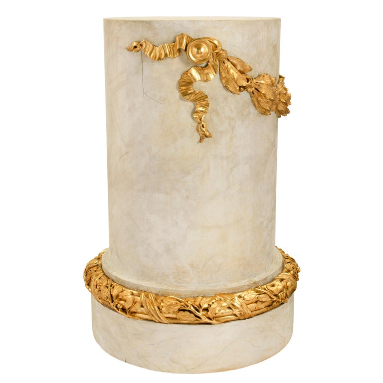 18th Century and Earlier French 18th Century Louis XVI Period Faux Painted Marble & Giltwood Pedestal For Sale