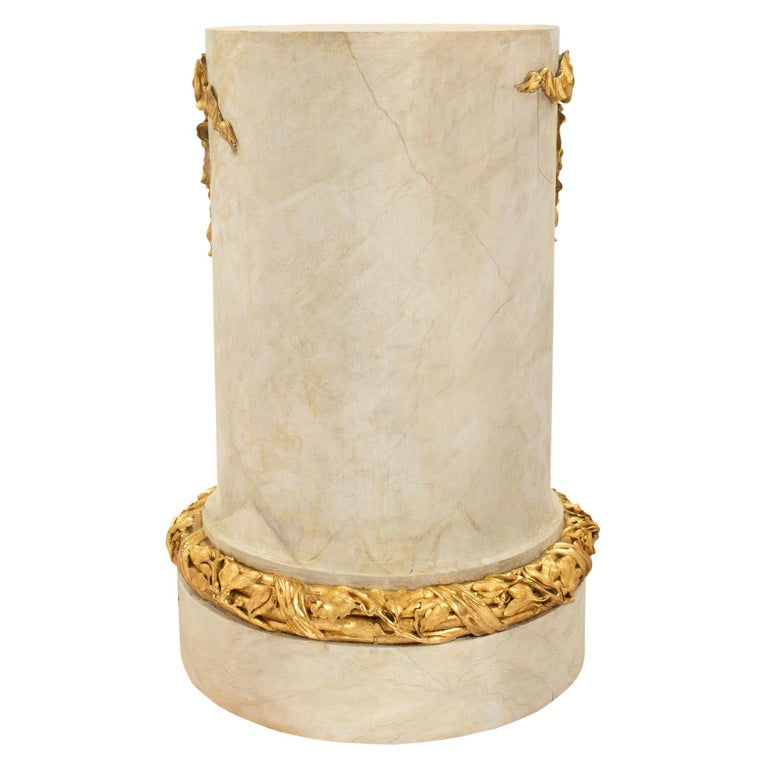Ormolu French 18th Century Louis XVI Period Faux Painted Marble & Giltwood Pedestal For Sale