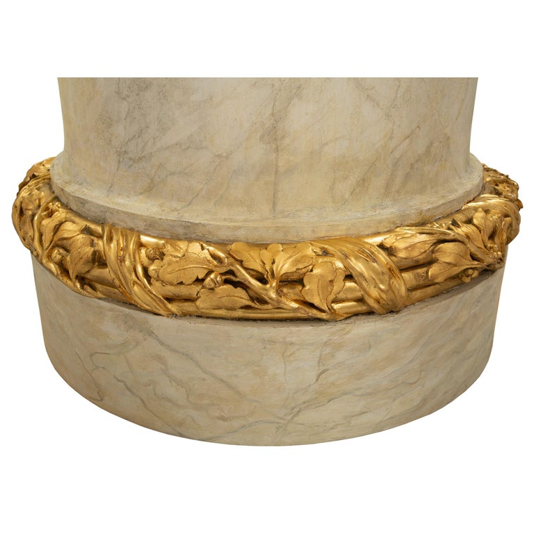 French 18th Century Louis XVI Period Faux Painted Marble & Giltwood Pedestal For Sale 2