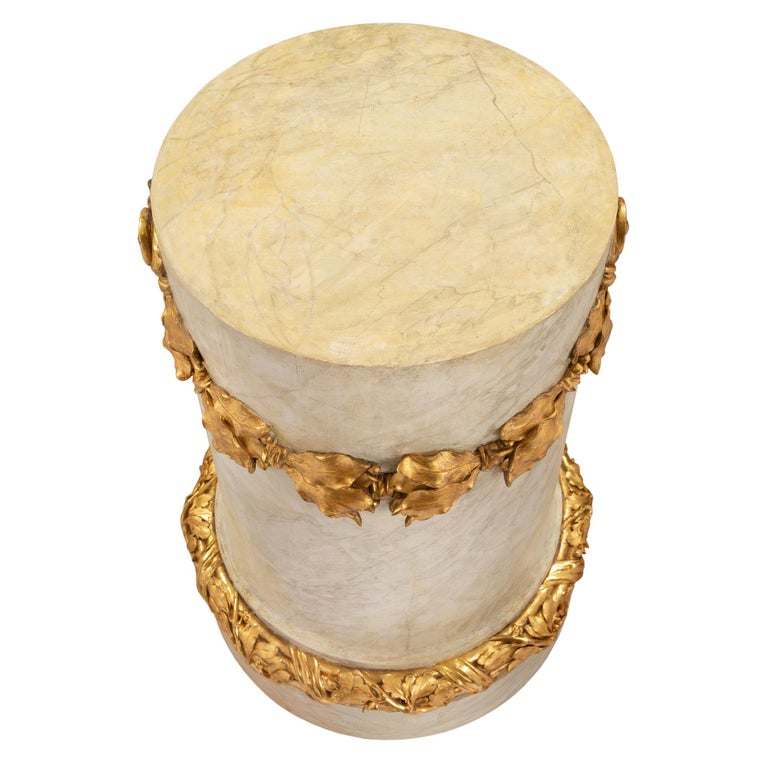French 18th Century Louis XVI Period Faux Painted Marble & Giltwood Pedestal For Sale 3