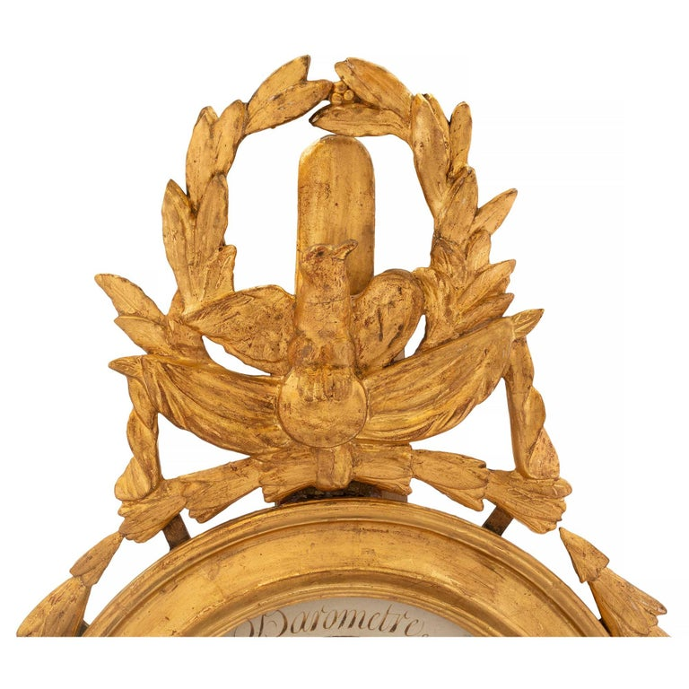 French 18th Century Louis XVI Period Giltwood Barometer and Thermometer In Excellent Condition For Sale In West Palm Beach, FL