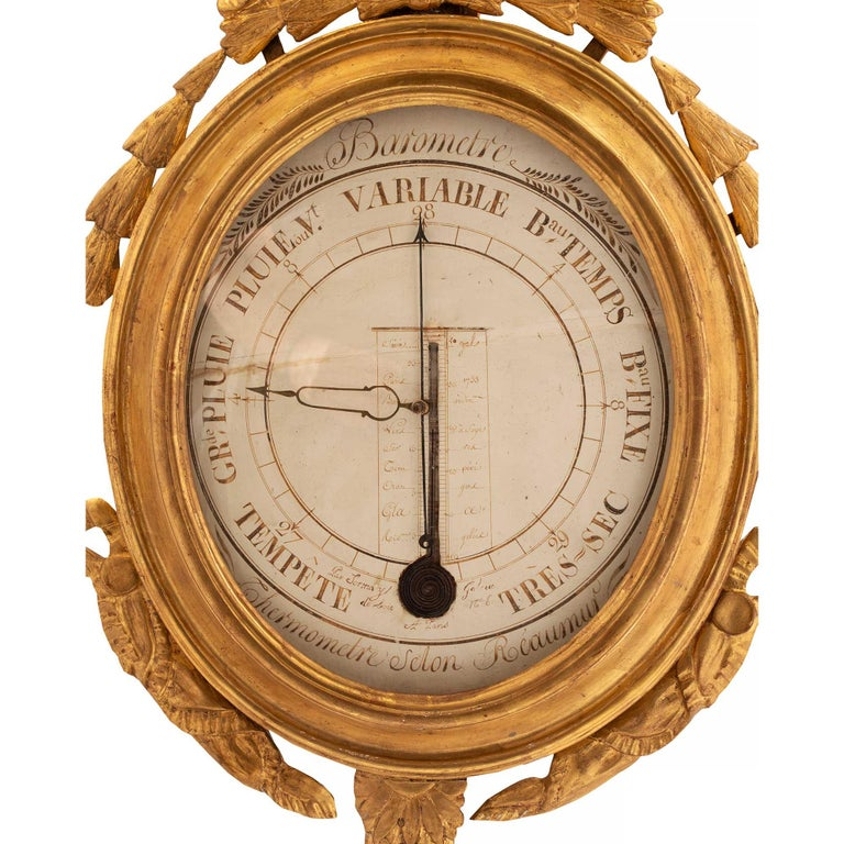 18th Century and Earlier French 18th Century Louis XVI Period Giltwood Barometer and Thermometer For Sale