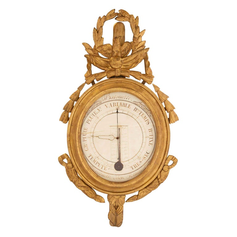 French 18th Century Louis XVI Period Giltwood Barometer and Thermometer For Sale