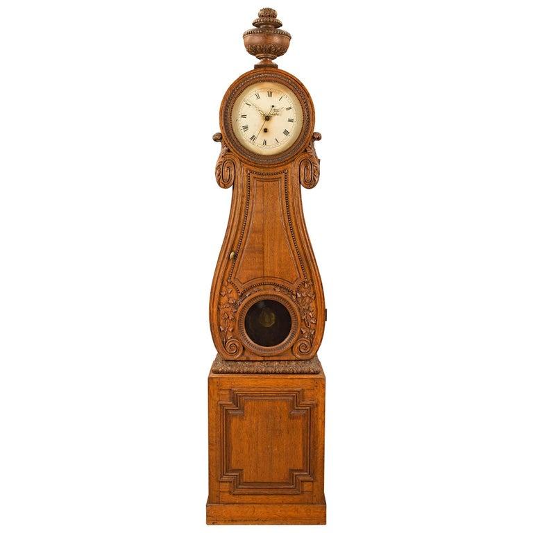 French 18th Century Louis XVI Period Oak Grandfather Clock For Sale