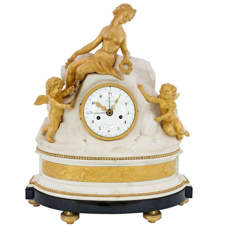 French 18th Century Louis XVI Period Ormolu, Carrara and Belgian Marble Clock