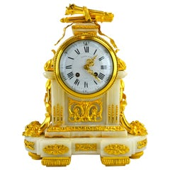 French 19 Century Louis XVI-Style Ormolu and Onyx Clock by Raingo Freres
