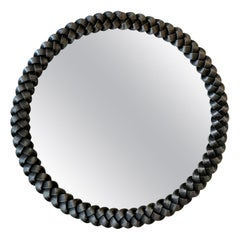 French 1940s Circular Braided Wrought Iron Mirror