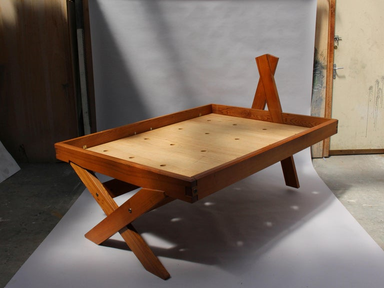A French 1950's Solid Elm Bed by Pierre Chapo For Sale 9
