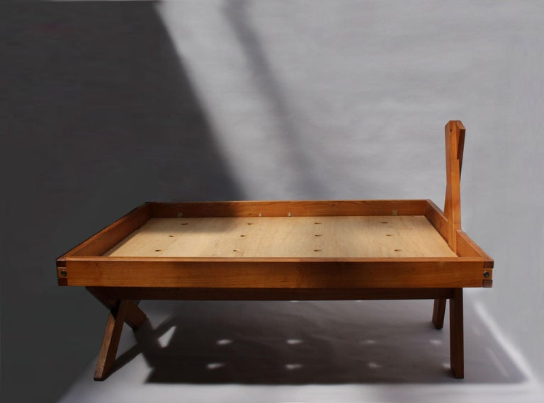 Mid-20th Century A French 1950's Solid Elm Bed by Pierre Chapo For Sale
