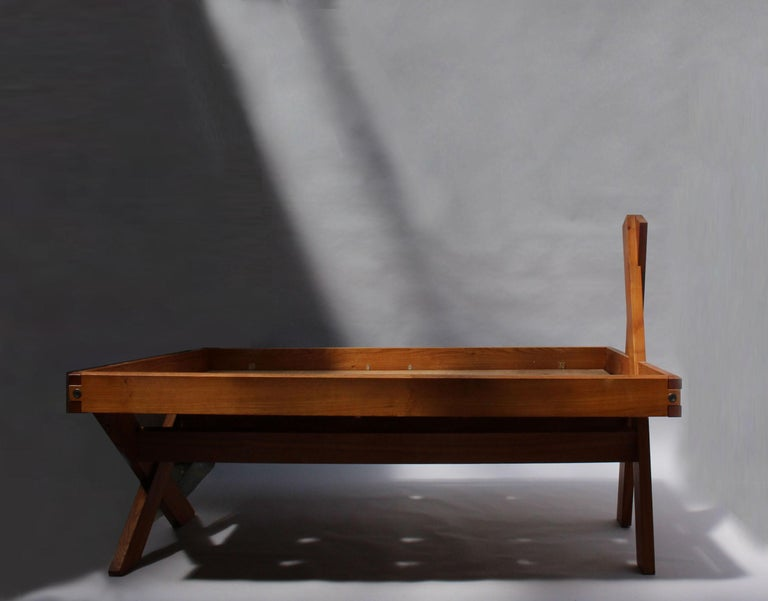 A French 1950's Solid Elm Bed by Pierre Chapo For Sale 1