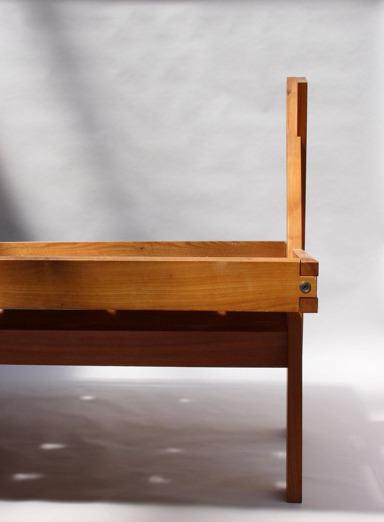 A French 1950's Solid Elm Bed by Pierre Chapo For Sale 2