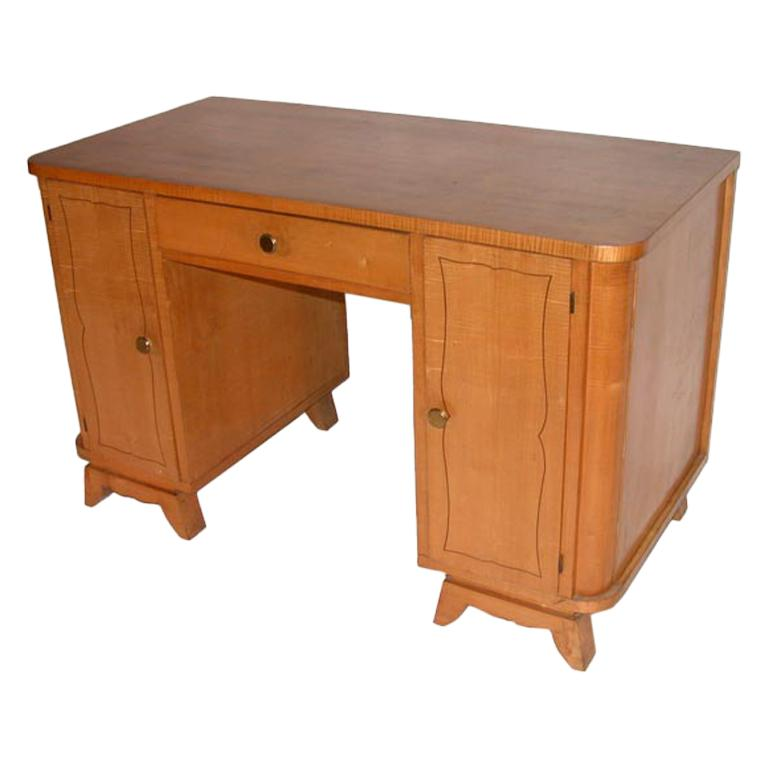 A French 1950's Sycamore Desk For Sale