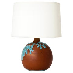 French 1960s Terracotta and Turquoise Glaze Table Lamp