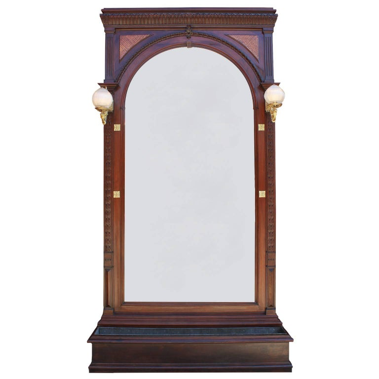 French 19th-20th Century Louis XVI Style Carved Mahogany Architectural Mirror