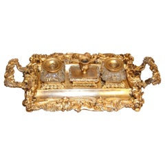 French Gilt Bronze Writing Stand Cast and Engraved with a Hunting Scene