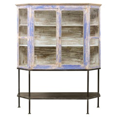 French Glass Panel Display Cabinet on Custom Iron Base with Lower Shelf