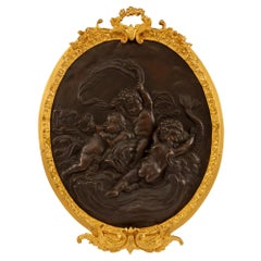 French 19th Century Belle Époque Period Bronze and Ormolu Wall Plaque