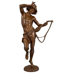 French 19th Century Belle Époque Period Bronze Statue of a Man Dancing