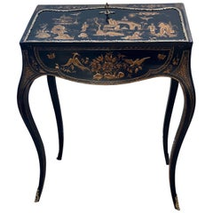 French 19th Century Black Lacquer with Gold Detailing Chinoiserie Secretaire