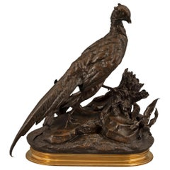 French 19th Century Bronze and Ormolu Pheasant Statue Signed Jules Moigniez
