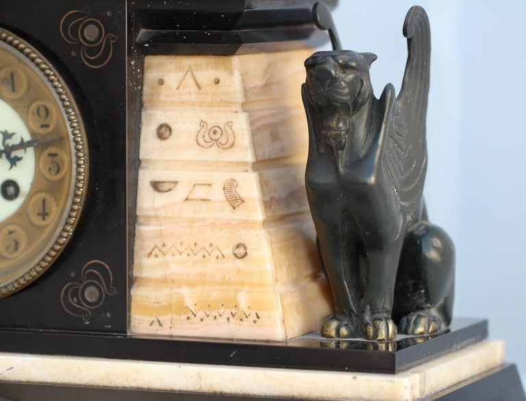 French 19th Century Egyptomania Three-Piece Clock Garniture, circa 1860 For Sale 3