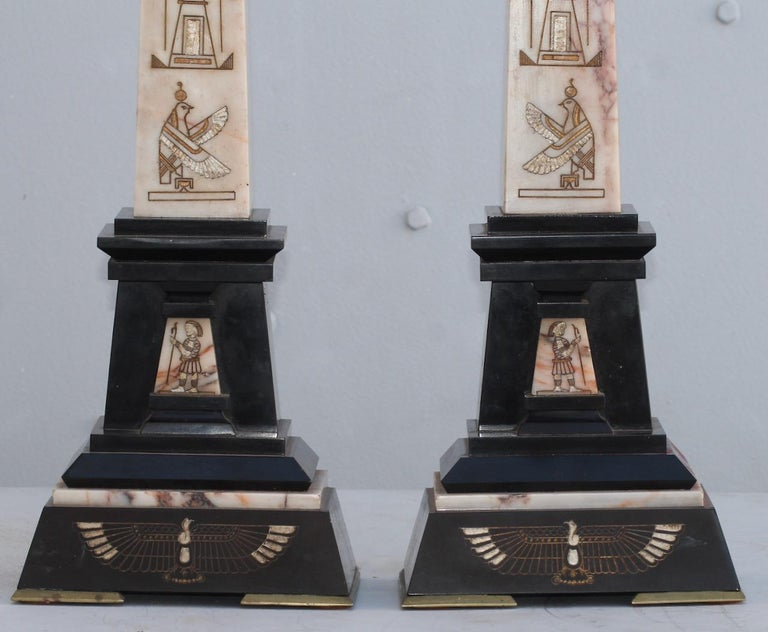 French 19th Century Egyptomania Three-Piece Clock Garniture, circa 1860 For Sale 4
