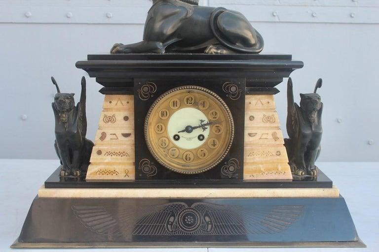 Mid-19th Century French 19th Century Egyptomania Three-Piece Clock Garniture, circa 1860 For Sale