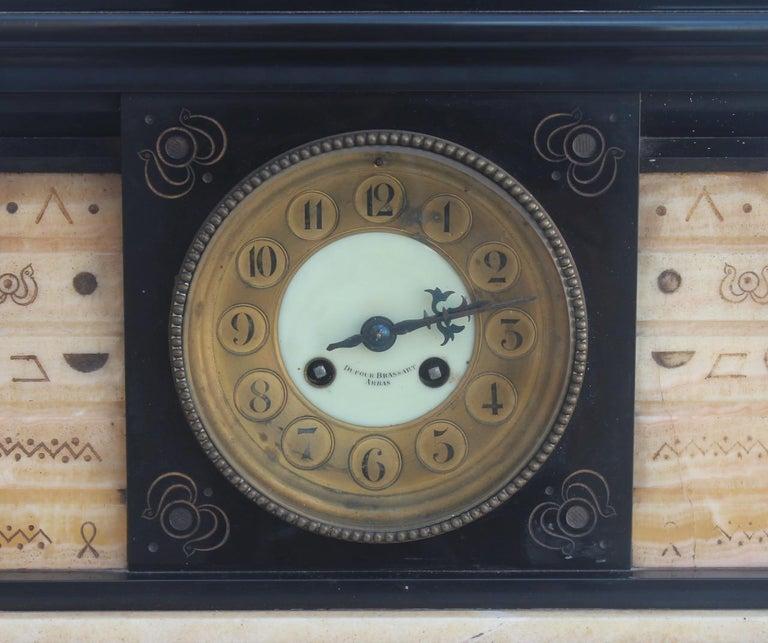 French 19th Century Egyptomania Three-Piece Clock Garniture, circa 1860 For Sale 2