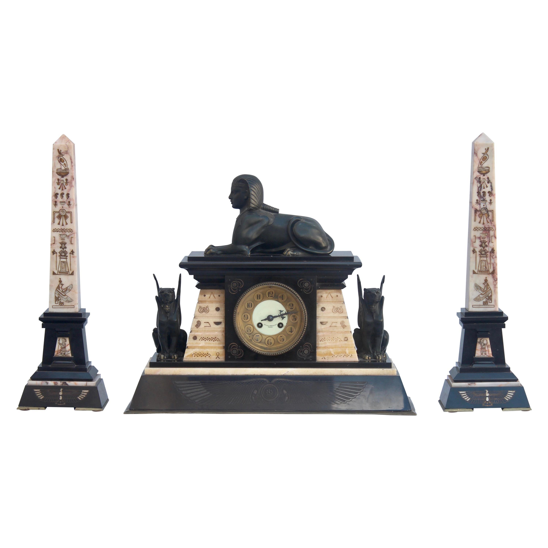 French 19th Century Egyptomania Three-Piece Clock Garniture, circa 1860