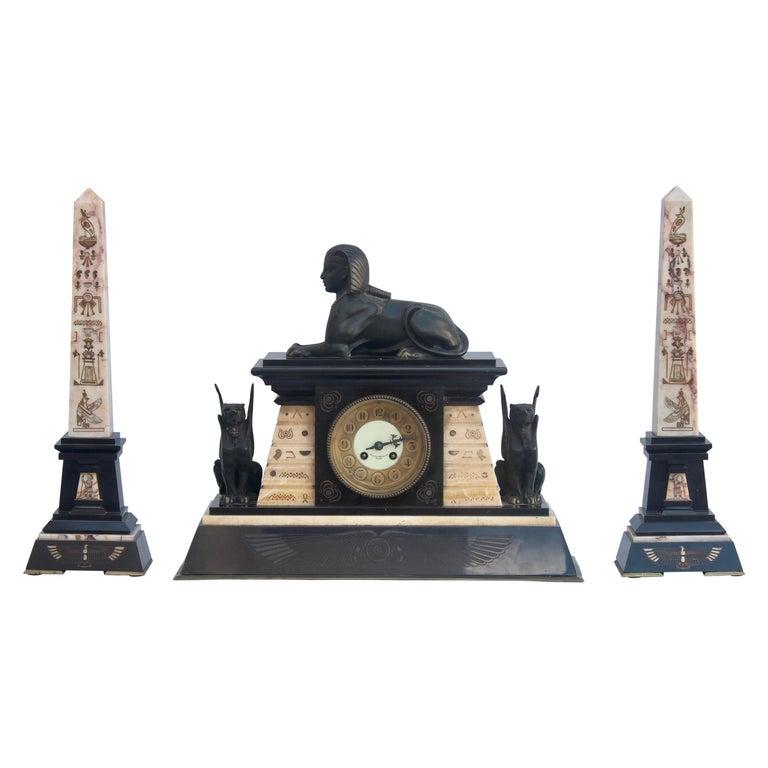 French 19th Century Egyptomania Three-Piece Clock Garniture, circa 1860 For Sale