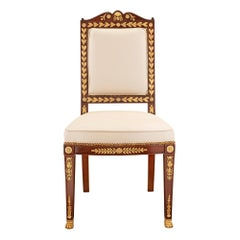 French 19th Century Empire St. Ormolu and Solid Mahogany Side Chair
