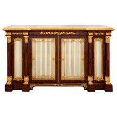 French 19th Century Empire Style Ormolu, Mahogany and Carrara Marble Buffet