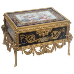 French 19th Century Enameled and Ormolu-Mounted Jewelry Casket