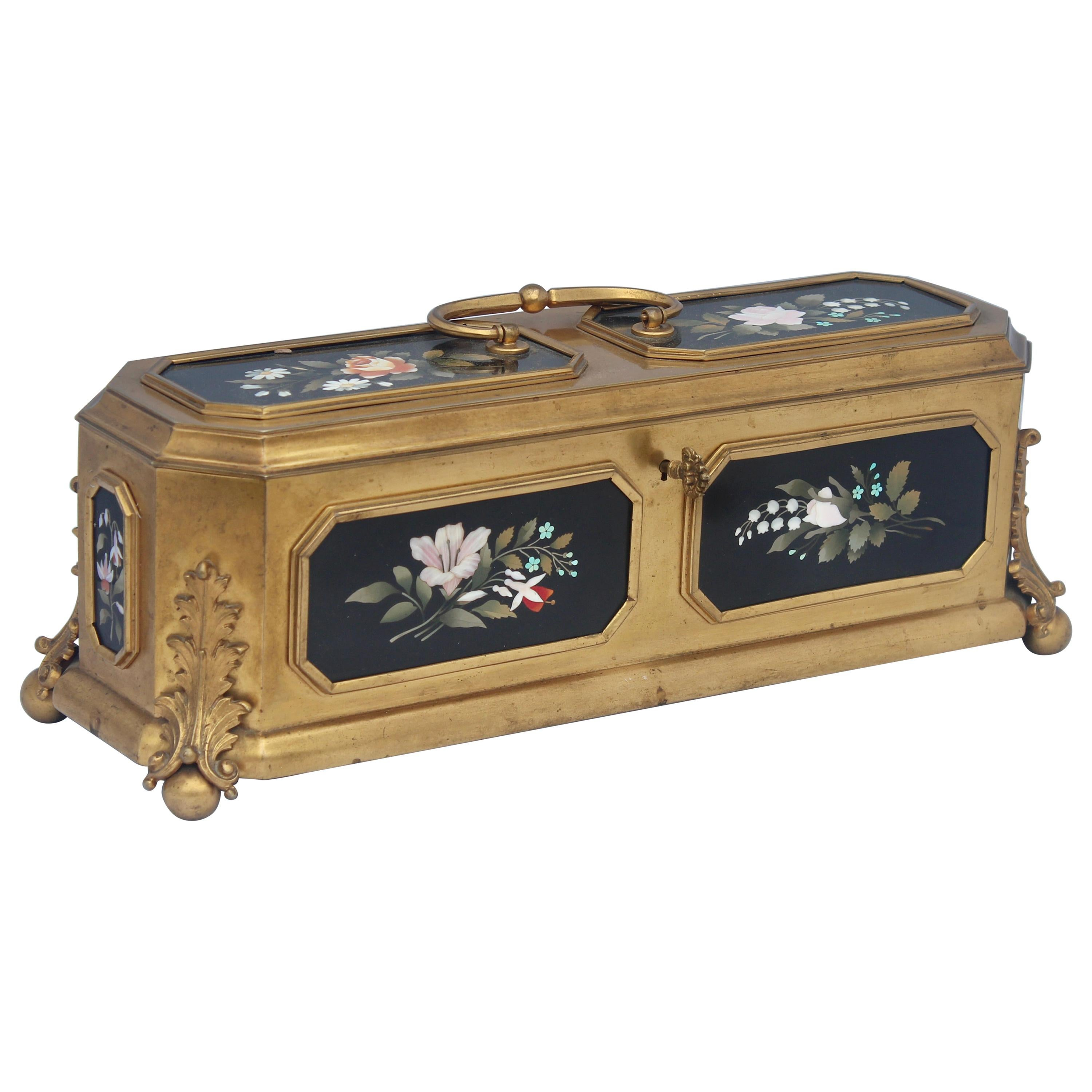 French 19th Century Gilt-Bronze and Pietra Dura Inset Jewelry Casket
