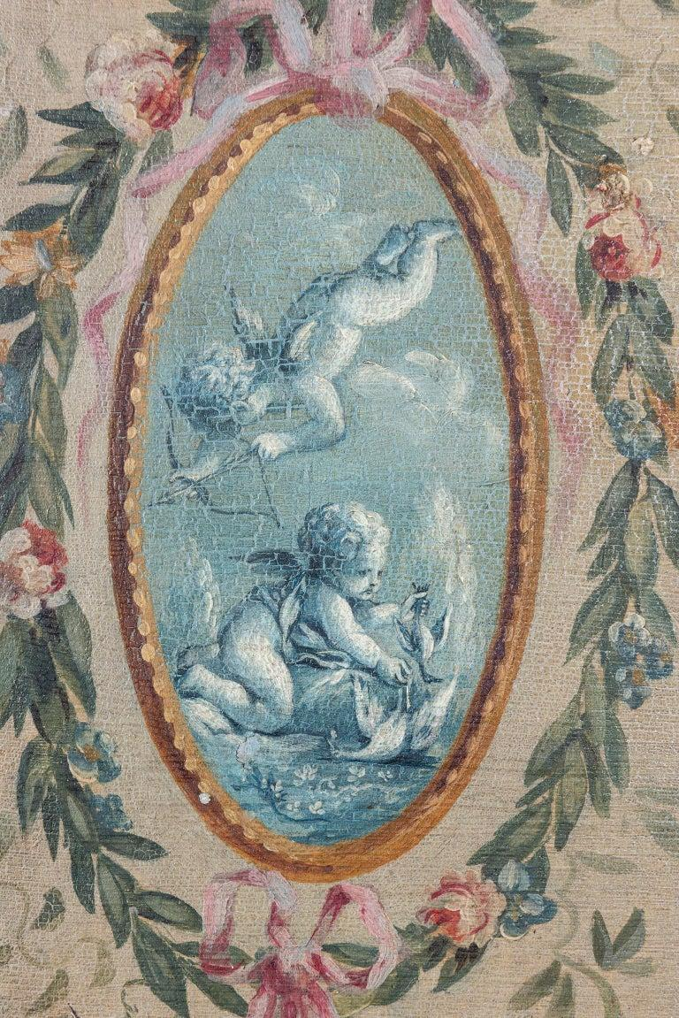 Hand-Painted French 19th Century Hand Painted Five Panel Canvas Screen For Sale