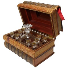 French 19th Century Liquor Baccarat Crystal Tantalus Casket as Leather Books