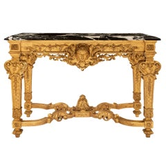 French 19th Century Louis XIV St. Giltwood and Grand Antique Marble Console